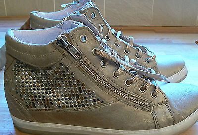 Khrio Leather Studded Lace Up Trainer Boot Taupe Size 7 New