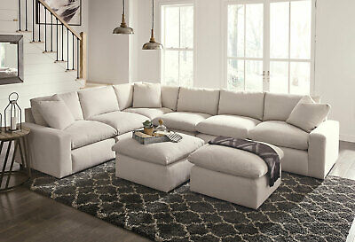 Modular Sectional Living Room Off-White Fabric 8pcs Sofa Chair Ottoman Set IG33