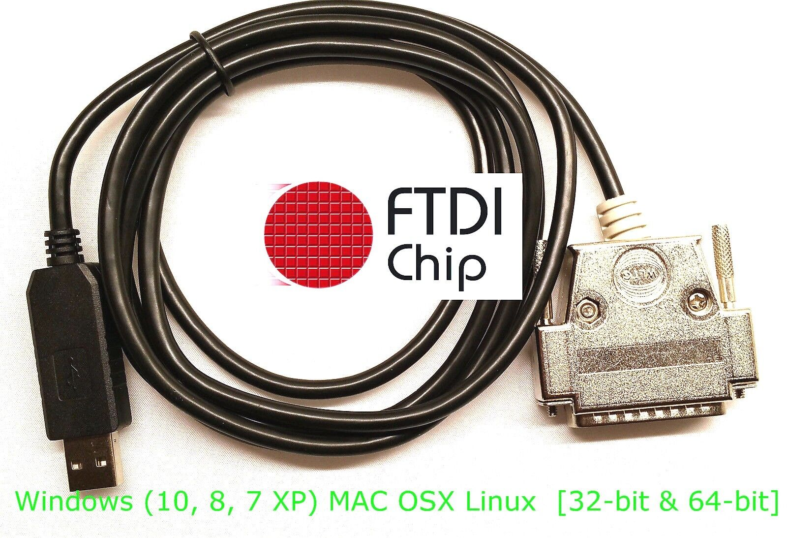 Ftdi Usb Db-25 Male Serial Rs-232c Null Modem Cable For S...
