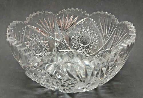 Vintage Clear Thick Crystal Pinwheel Large Bowl