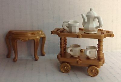 "Playmobil Victorian Dollhouse Serving Cart , Accessories & side table  ""NEW"""