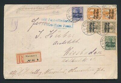 1917 POLAND COVER TO WIESBADEN, GGW GERMANIA REG WARSAW, POZNAN H/S