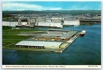 Postcard Canada Western Terminal Of St  Lawrence Seaway Thunder Bay Ontario B4
