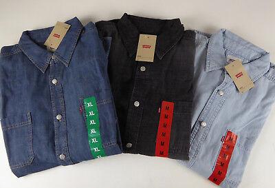 Levi's Strauss Red Tab Cotton Denim LS Work Shirt NWT Stonewash, Bleach, Black