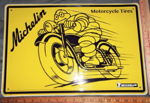 "vintage Michelin motorcycle tire sign collectible old biker ""Bibendum"" ad 12x16"
