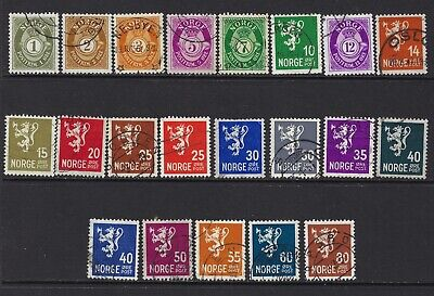 NORWAY, SC# 187-202A, COMPLETE SET, USED, LOT 1-7-161
