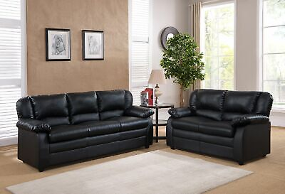 Kings Brand Furniture – 2 Piece Abanda Sofa & Loveseat Living Room Set, Black