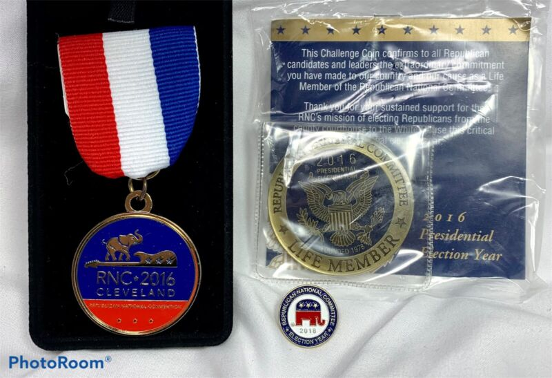 RNC REPUBLICAN National Convention Committee Medal Pin Trump Clinton 2016 LOT