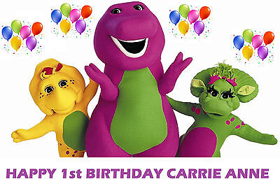 Barney And Friends Party Supplies (Barney and Friends Baby Bop Party Edible image Cake topper )