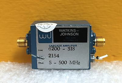 Watkins Johnson Wj 6200-318 5 To 500 Mhz 15 Vdc Sma Rf Cascade Amplifier