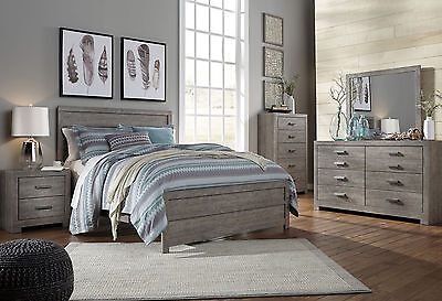 NATALIE 5 pieces Modern Rustic Gray Bedroom Set Furniture - King Size Panel Bed