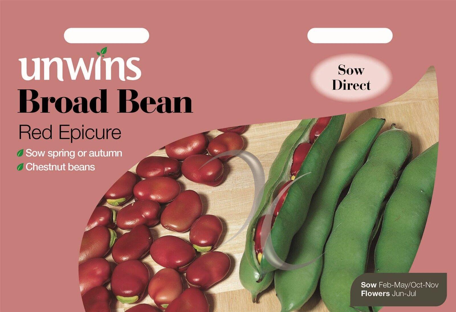 Gemüse unwins bildhafte Packung 45 Samen Ackerbohne rot Epicure