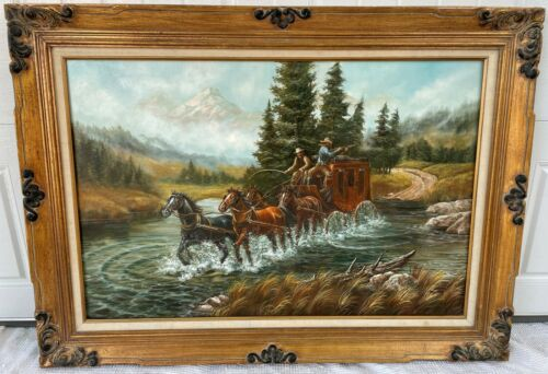Vintage Cowboy Art Oil Painting o/c Horses Stagecoach Shoot Out Signed Martinez