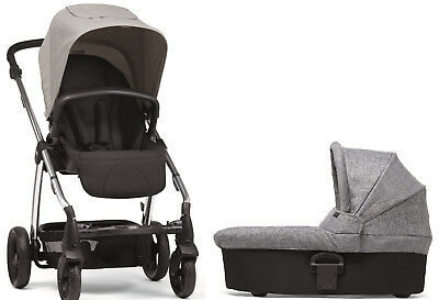 Mamas & Papas Sola 2 Chrome Reversible seat Baby Stroller w/ Carrycot Grey Marl, used for sale  Shipping to South Africa