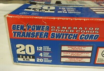 Gen Power Transfer Switch Cord 20 Ft 20 Amp