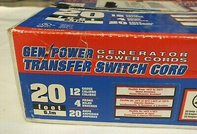 Gen Power Transfer Switch Cord 20 Ft 20 Amp