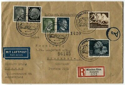 GERMANY Brown Ribbon Horse Race Registered Airmail Cover Stamps Postage 1942 Germany Airmail Cover