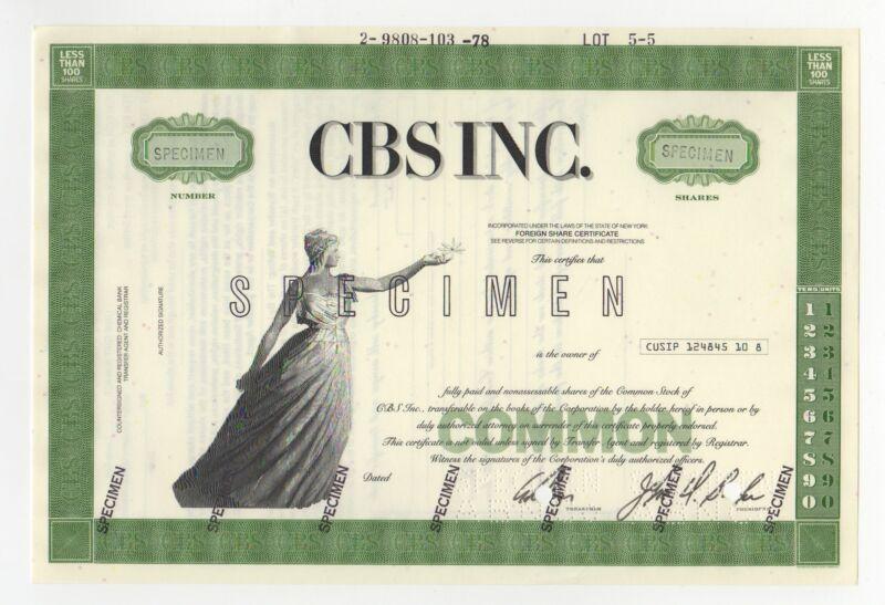 SPECIMEN - CBS Inc. Stock Certificate - Columbia Broadcasting System