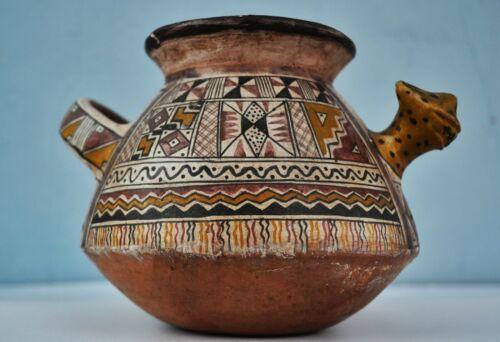 Pre Columbian culture Clay Pottery Jug  Inca Early mid century replica Aribalo