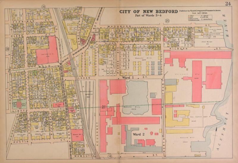 1911 Atlas NEW BEDFORD COUNTY MASSACHUSETTS plat maps GENEALOGY Land DVD P139
