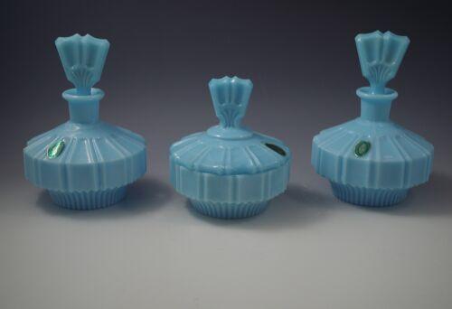 ART DECO OPALINE GLASS ITALY 2 PERFUME BOTTLES AND POWDER BOX VANITY SET BLUE