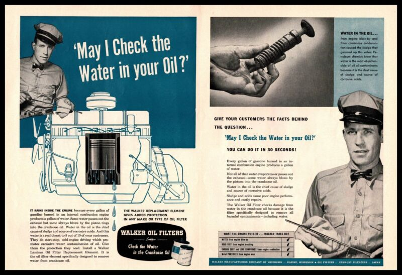 1955 Walker Laminar Oil Filter Replacement Element Racine WI 2-Page Print Ad
