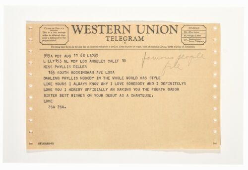 Telegram from ZSA ZSA Gabor to Phyllis Diller | August 11 1968 Western Union VG