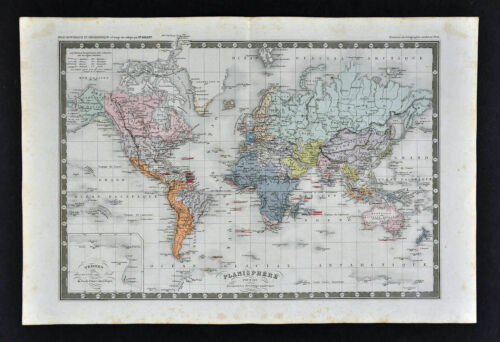c 1860 Ansart Map - World - Discoveries European Colonies America Africa Asia