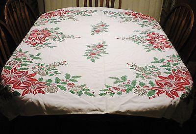 VINTAGE COTTON CHRISTMAS TABLE CLOTH ORNAMENT CANDLES BELLS POINSETTIAS 50 X 60