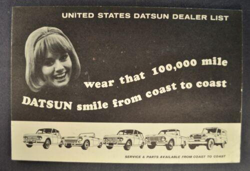 1966 Datsun Dealer List Brochure 1600 Roadster Pickup Patrol 411 Sedan Wagon 66