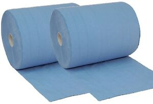 2 x Rollen 3 lagig 38cm breit Putztuch Papier-Rolle blau Putzpapier 1000 Blatt