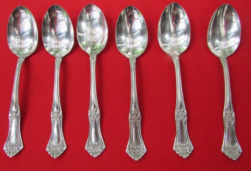 "1919 Arlington Pattern 6 Teaspoons By Crown Silver Plate 6"" Lg"