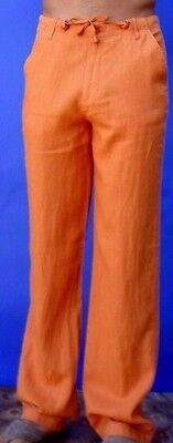 Men's Halloween Costume Pumpkin Orange Draw String Linen Pants  - Jail Bird](Jail Man Halloween)