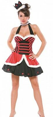 Alice In Wonderland Costume Adults (Womens Queen of Hearts Costume Alice in Wonderland Fancy Dress Sexy Adult)