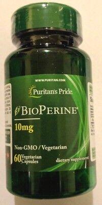 BioPerine Black Pepper Extract 10mg 60 Capsules Non-GMO Vegetarian