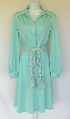 VINTAGE 1960s 70s MOD DOMINO FASHIONS DRESS SEAFOAM POLY CROCHETED BELT