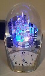 Rhythm Twilight Castle Musical Clock w/ Lights Mantel Shelf Clock Plays 10 Songs