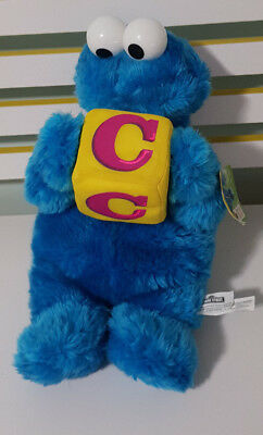 COOKIE MONSTER SESAME STREET PLUSH TOY SOFT TOY NANCO WITH YELLOW C BLOCK!40CM!
