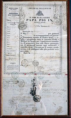 VATIKAN REISEPASS PASSPORT PAPST PIUS IX. ROM PROF. EUGENIO ALBERI STEMPEL 1848