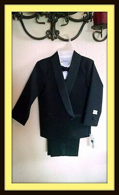 Boys Black Camilo Tuxedo (tux, bow tie, shirt, cummerbund) Free priority ship!