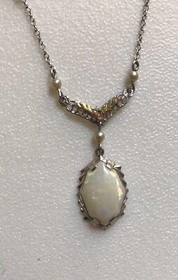 10K White Gold Art Deco Filigree Pearl Opal Necklace