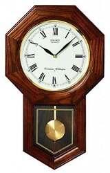 *BRAND NEW* Seiko Oak Schoolhouse Pendulum Wall Clock QXH102BC