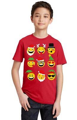 Christmas Emoji Merry Christmas Youth Kid's T-shirt funny Xmas tee ()