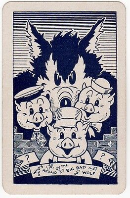 Playing Cards Single Swap Card Vintage DISNEY Three Little Pigs  Big Bad Wolf 2