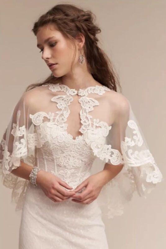 NEW $200 BHLDN Adorlee Wedding Topper Cape Size 12 Ivory
