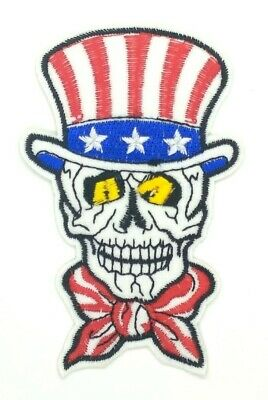 US SELLER MAGICIAN SKULL USA FLAG COLOR COSTUME Embroidered Iron on Patch 1519](Usa Flag Costume)