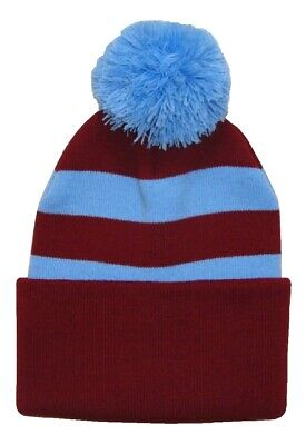 Aston Villa Hat - Aston Villa Supporters Claret and Sky Blue Traditional Style Bobble Hat