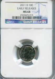 2011 D Roosevelt Dime 10c NGC MS-68 EARLY RELEASES