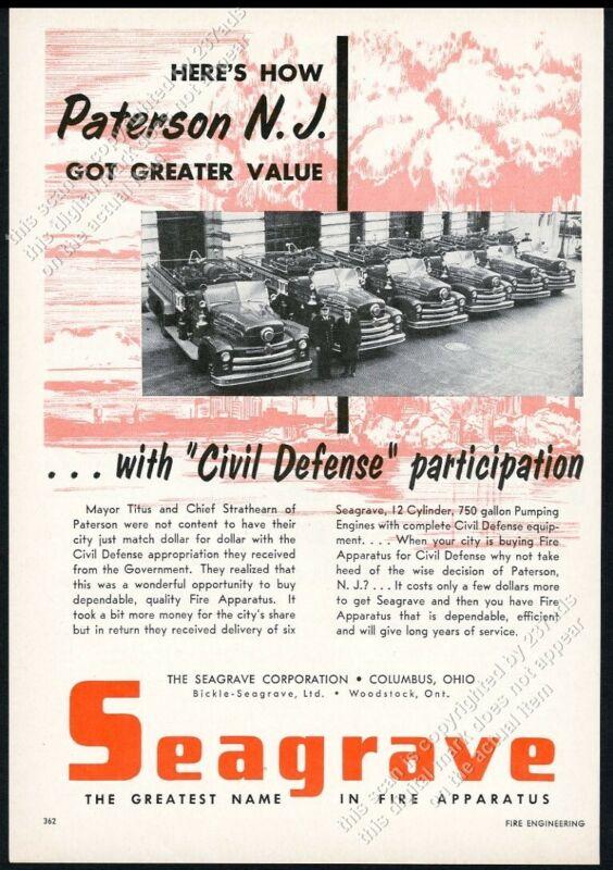 1953 Seagrave fire engine truck Paterson NJ fire department photo vintage ad
