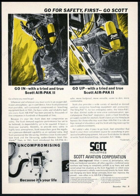 1966 Scott Air-Pak II fire fighter breathing apparatus vintage print ad